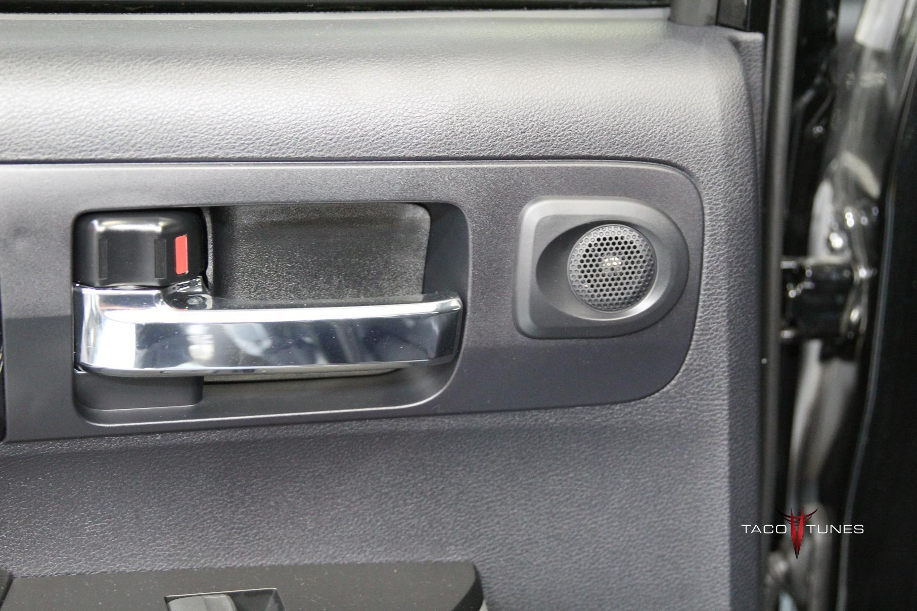Toyota Tundra CrewMax Rear Door Tweeter Close up & 2014+ Toyota Tundra CrewMax Stock JBL Stereo System Pictures Details ...
